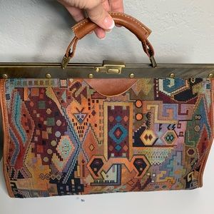 Vintage Tapestry leather Carpet Southwest Purse